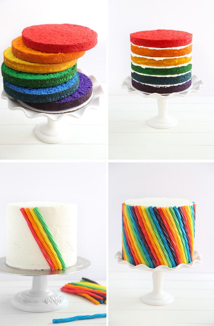 torte verzieren mit süßigkeiten, tortenboden in den farben des regenbogens, bunte gelee bonbons