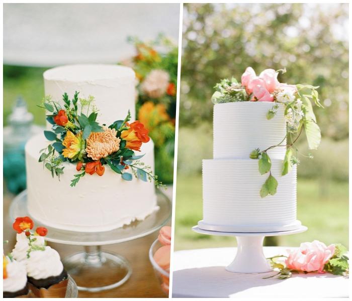 tortendeko hochzeit, weiße buttercreme, torte im boho stil, frühlingsblumen