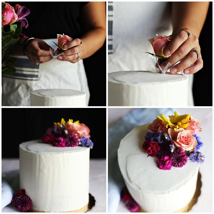 tortendeko hochzeit, weiße buttercreme, torte mit blumen dekorieren, anleitung