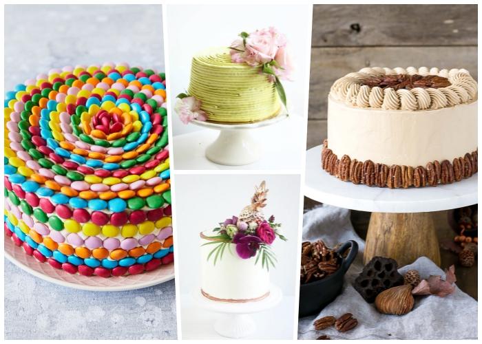 tortenverzierung anleitung, bunte bonbons, grüne creme, rosa blumen, pekannüsse
