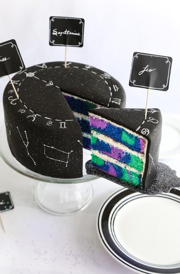 torte mit fondant selber machen, bunte tortenboden, geburtstagskuchen mit den sternbildern