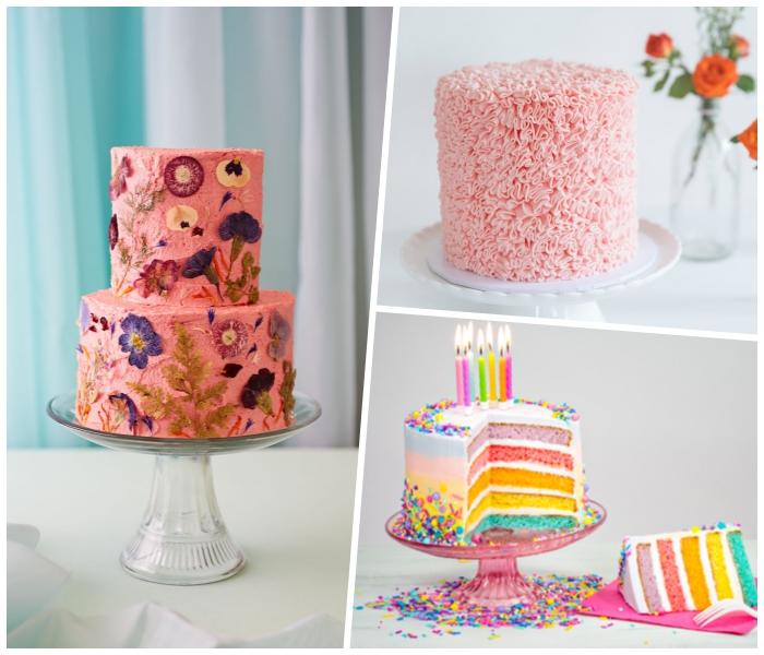 torte mit fondant im ombre look dekoriert mit zuckerperlen, rosa creme, blüten