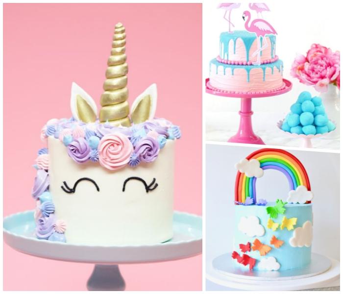 torte mit fondant dekoriert als einhorn, kindergeburtstagstorte mit regenbogen und schmetterlingen