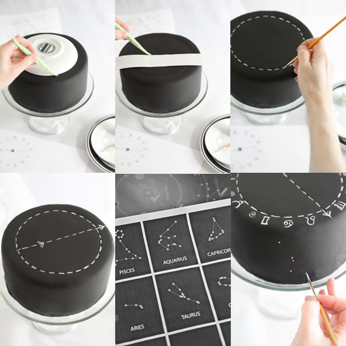 torte mit fondant, kuchen dekorieren, sternbilder zeichnen, tortendeko ideen