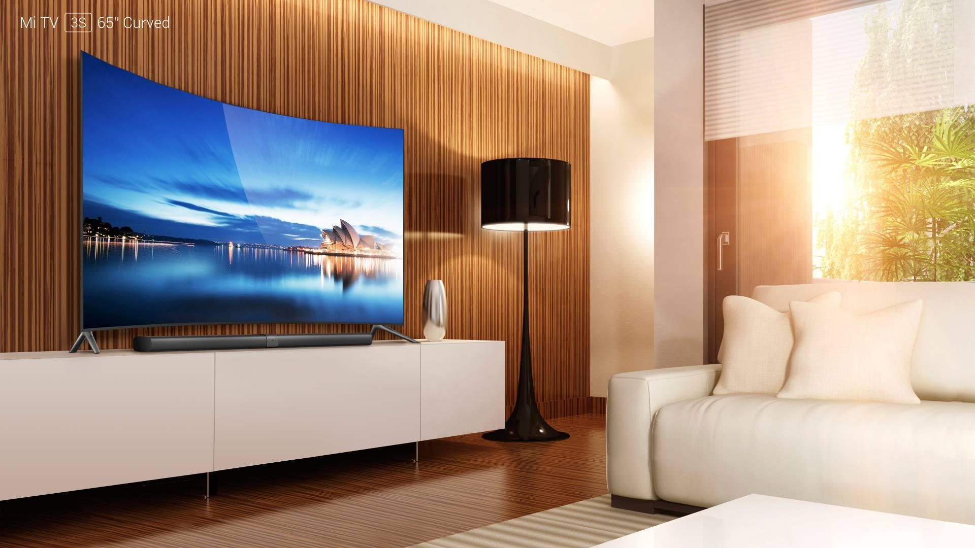 ein schöner Fernseher mit Lowboard, in einem modernen Wohnzimmer