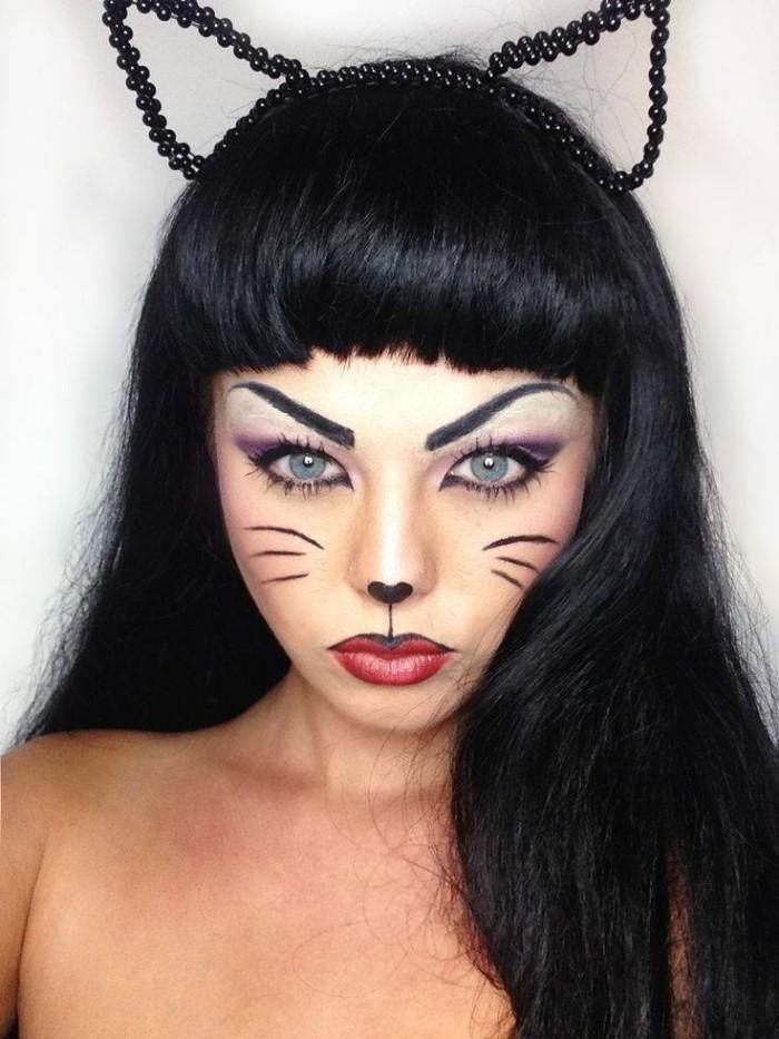 halloween kostüm kind selber machen, eine wilde katze selber gestalten, schminke