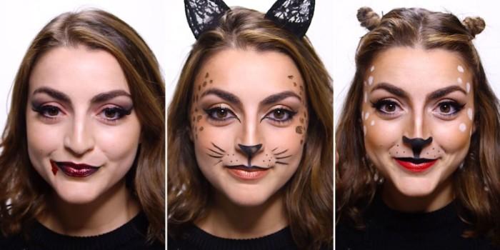 halloween kostüm kind selber machen, katze oder anderes tier, vampir, einfache tutorials zum schminken