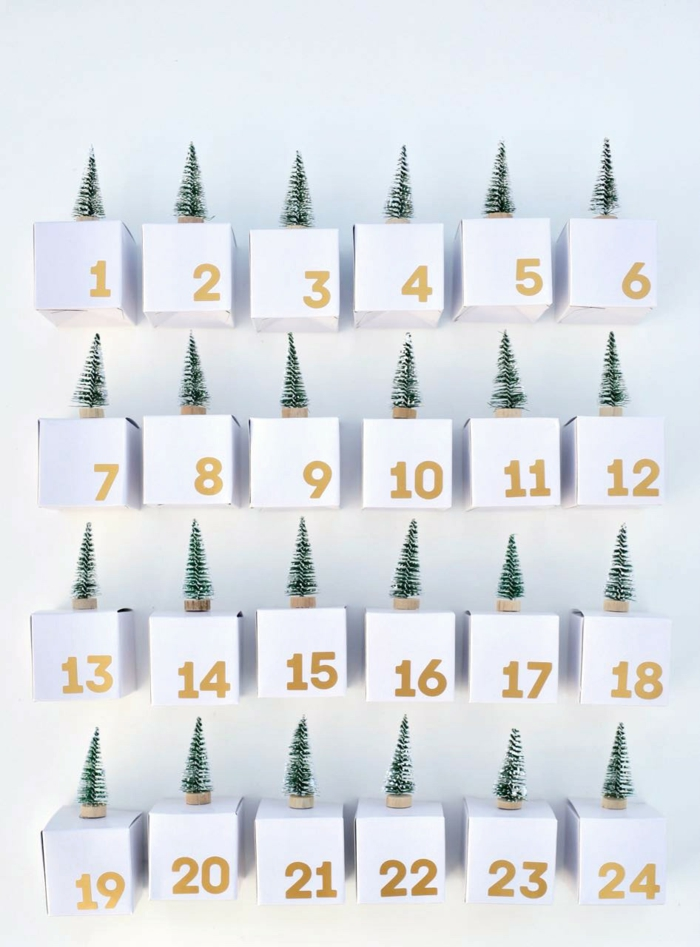 ein DIY Adventskalender aus kleinen Schachtel in weißer Farbe, kleine Bäumchen als Dekoration