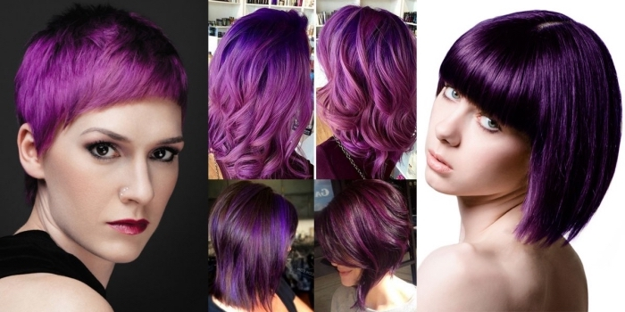 dunkel lila haare, kurzes haar stylen, bobfrisuren oder lange haarstyles sechs ideen in einem foto
