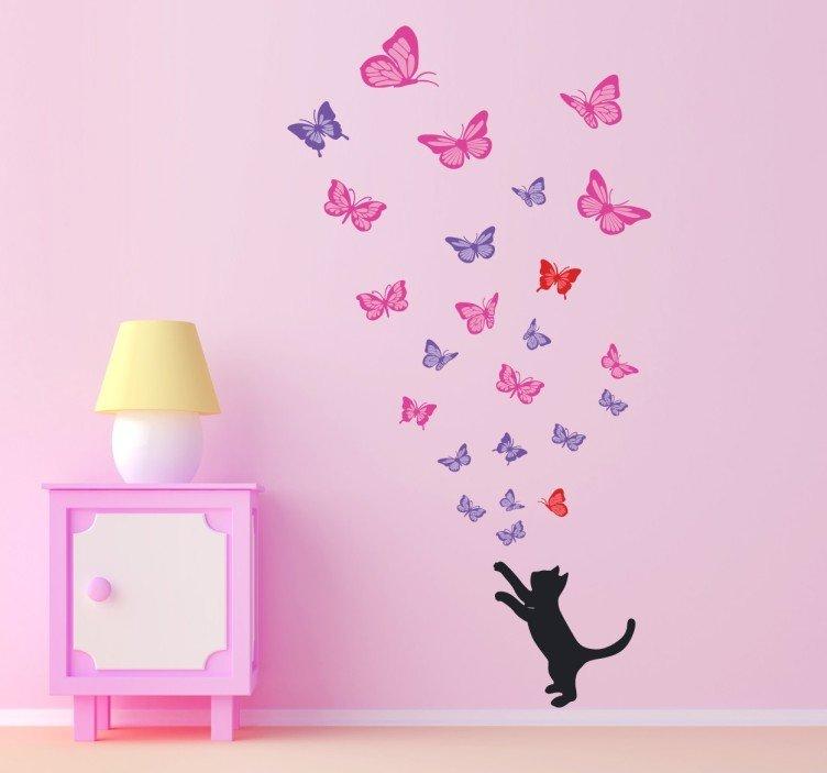 rosa und lila und rote Schmetterling und schwarze Katze, Wandsticker
