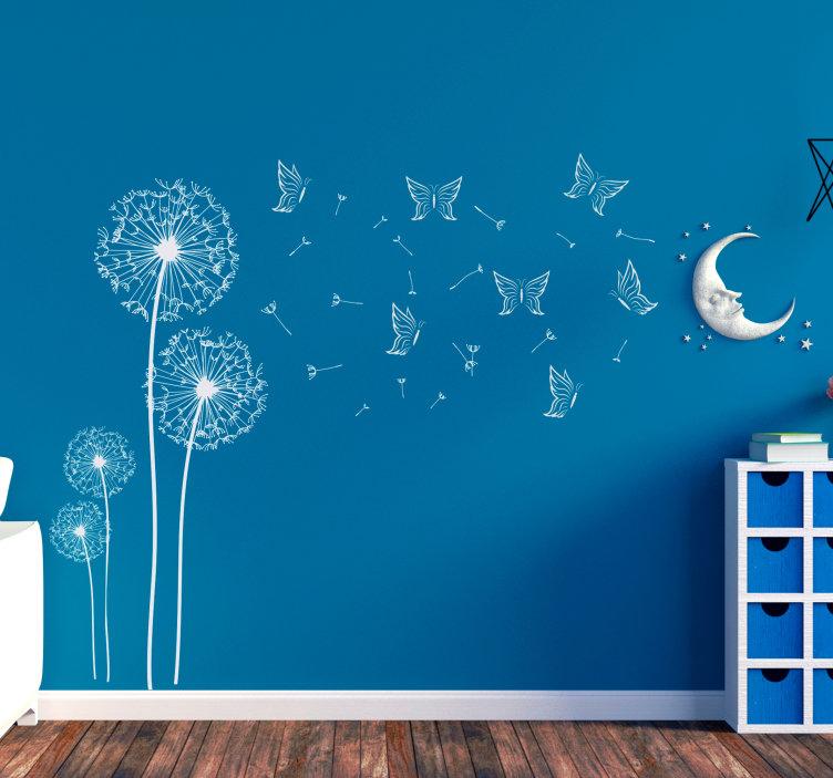 Pusteblumen und Schmetterlinge, Wandsticker im Schlafzimmer