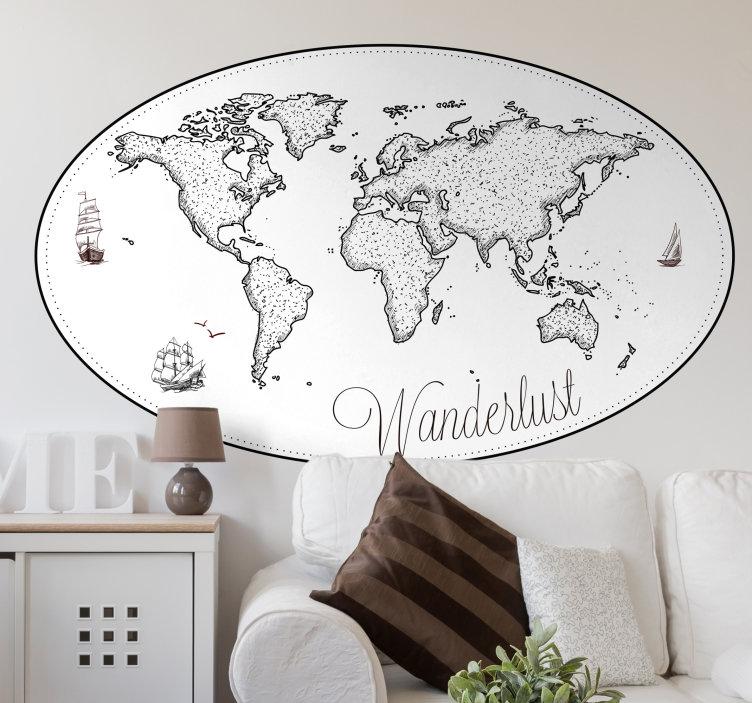 eine Weltkarte mit Botschaft Wanderlust, Wandsticker