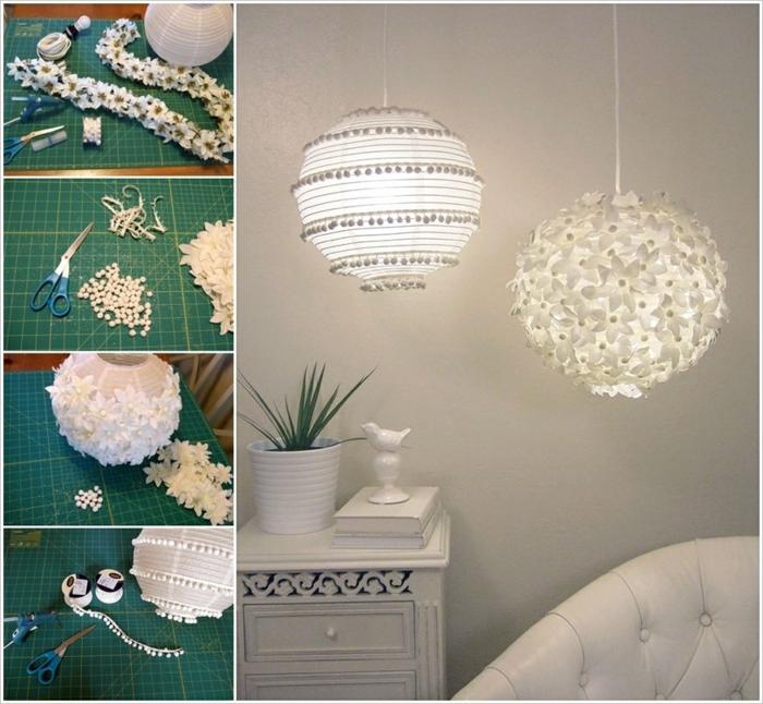 weiße Laternen, die mit verschiedenen Elementen verziert sind, Laterne selber basteln