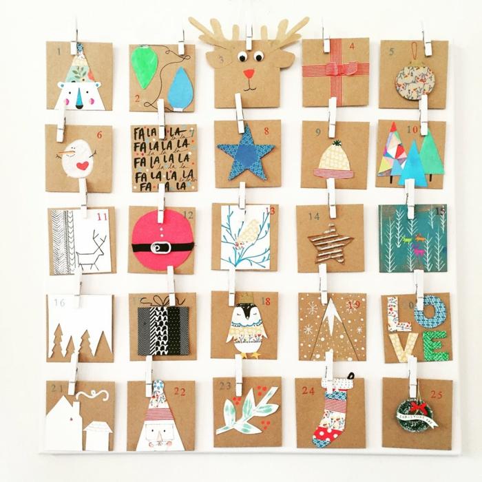 kleine braune Karten mit weihnachtlichen Motiven dekoriert, DIY Adventskalender für Kinder