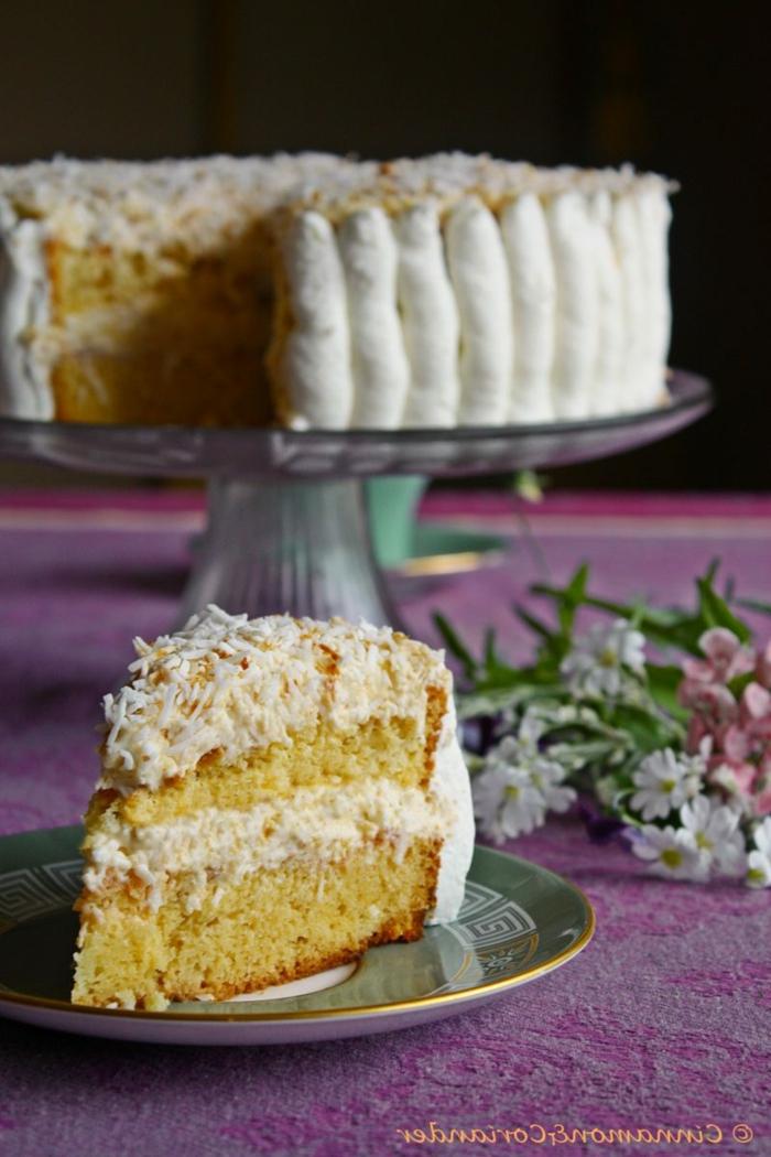 Tortenrezepte für einen leckeren Kuchen, weiße Creme und Kokosraspeln, Zitronenböden