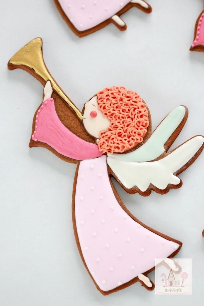 Engel Plätzchen selber backen und mit Zuckerguss dekorieren, Lebkuchen zum Ausstechen
