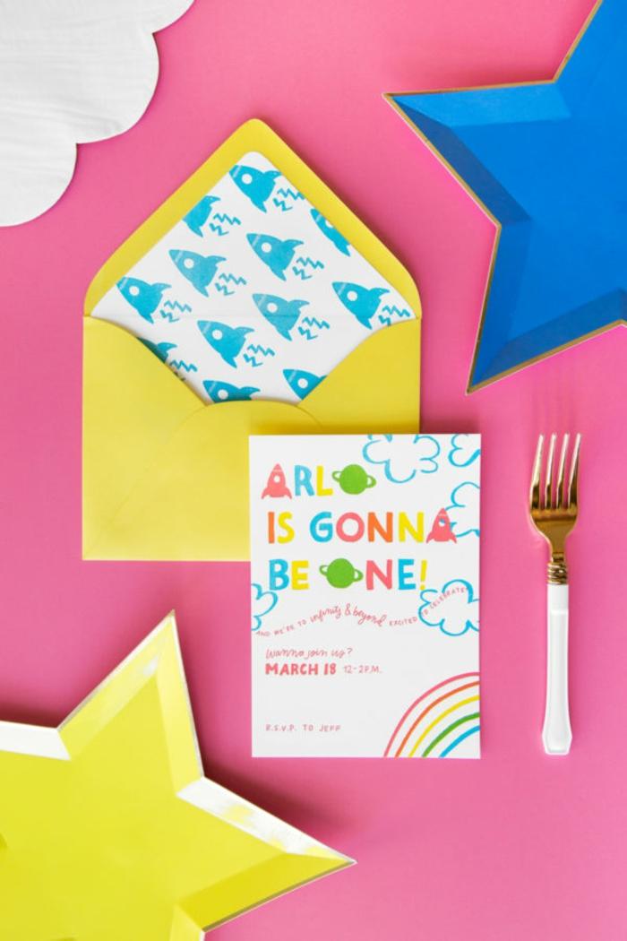 eine Einladung zu der ersten Geburtstagsparty von Arlo, Karte selbst gestalten in vielen Farben