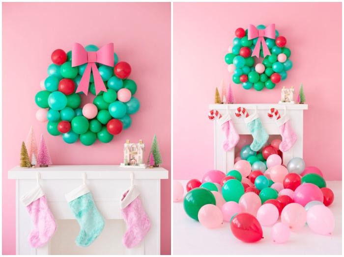 adventsdeko basteln, rosa wand, weiße kamin, kranz aus luftballons, schleife aus papier, partydeko