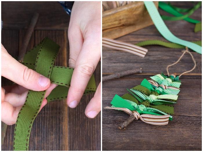 adventsdeko basteln, tannenbaumschmuck aus holzstab und streifen stoff, leinenschnur