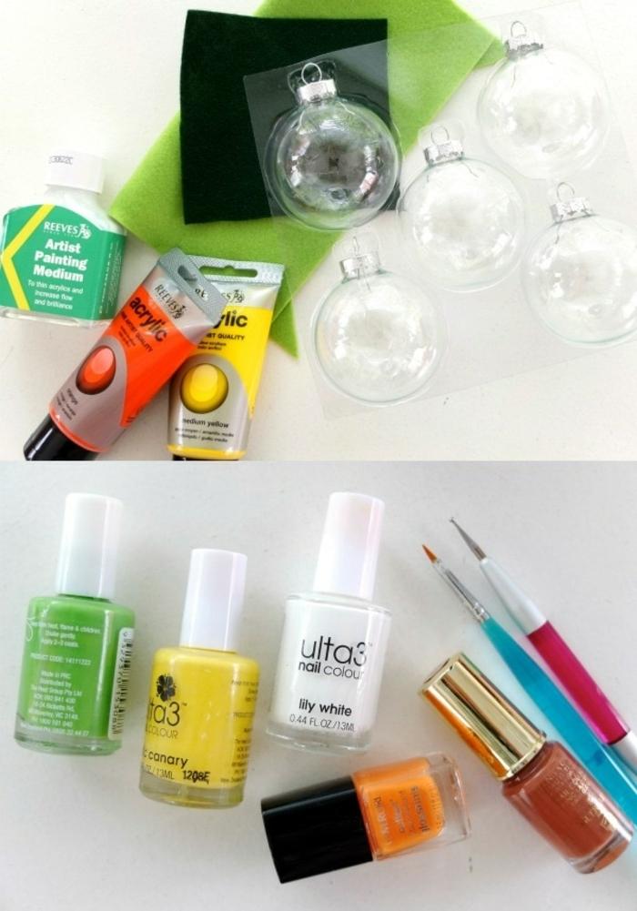 die benötigen Sachen für DIY Projekt für Weihnachtskugeln selber machen, bunte Acrylfarbe, Nagellack