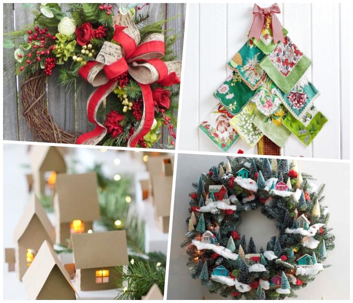 weihnachtskranz und viele mini tnnenbäumen, bunte servietten, außergewöhnliche weihnachtsdeko aussen