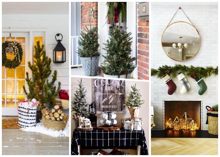 runder spiegel, korb mit holzstücken, außergewöhnliche weihnachtsdeko aussen, winterliche deko