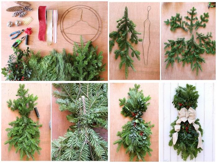 außergewöhnliche weihnachtsdeko aussen, kranz basteln, grüne tannenzweigen, lange tannenzapfen