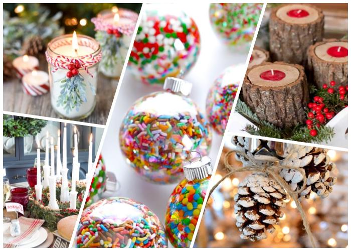 außergewöhnliche weihnachtstischdeko, weiße duftkerze, kugel gefüllt mit bonbons, kerzenhalter aus holz