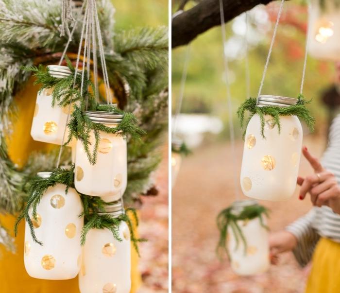ausgefallene weihnachtsdeko selber machen, laternen aus einmachgläsern, weiße farbe, lichterkette, zweige