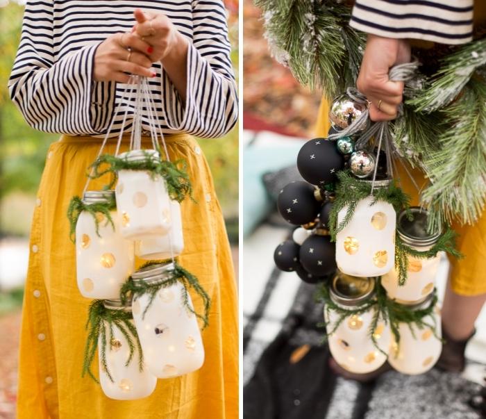 ausgefallene weihnachtsdeko selber machen, gelber rock, getreifte bluse, diy laternen aus einmachgläsern