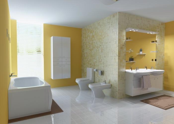 badezimmer spiegelschrank, moderne badezimmer gestalten, badezimmer mit gelben wänden und einer weißen badewanne