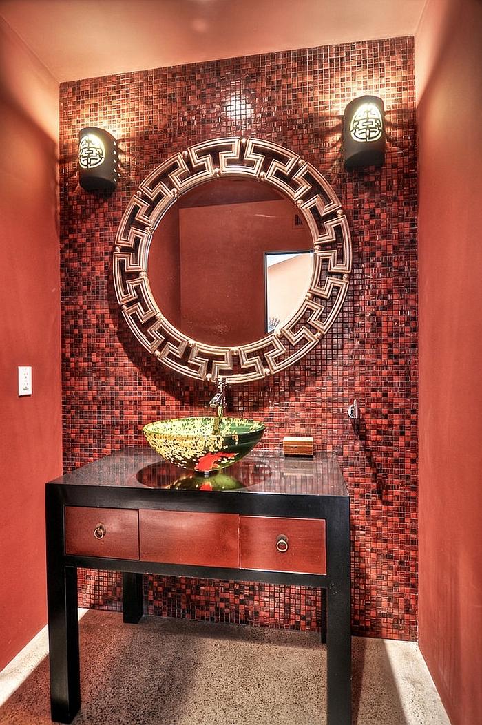 spiegel im roten badezimmer mit waschbecken und lampen und roten badezimmer fliesen, badezimmer modern
