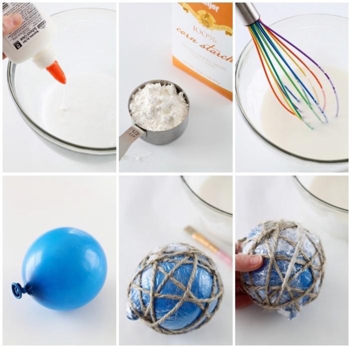bastelideen für weihnachten, blauer luftballon, weißer kleber, graue schnur, plastikfolie