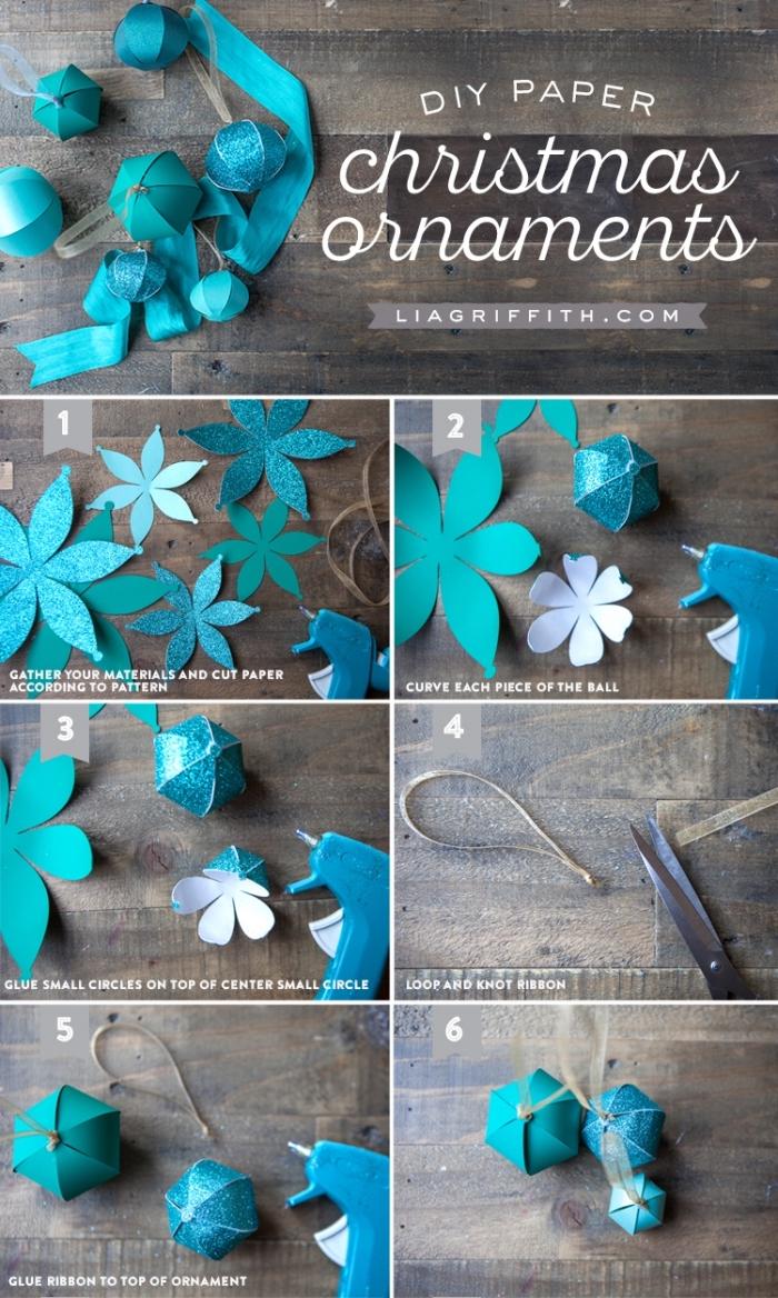 bastelideen für weihnachten, ornamente aus papier, blaue blumen, diy anleitung, heißklebepistole