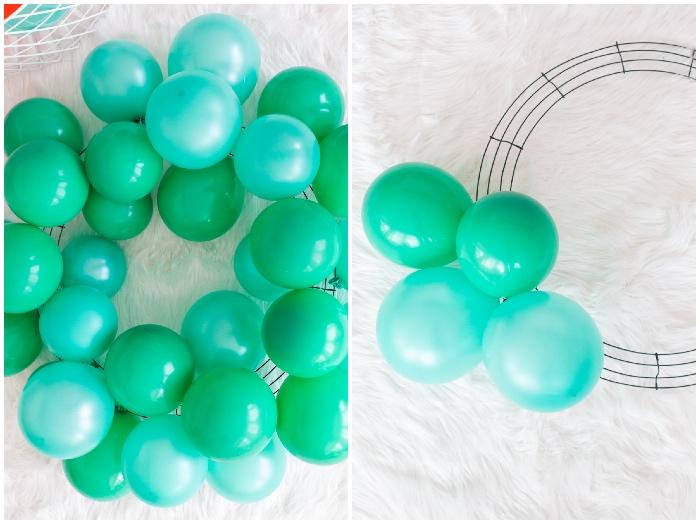 bastelideen für weihnachten, weihnachtskranz aus blaugrünen luftballons, weißer flauschiger teppich
