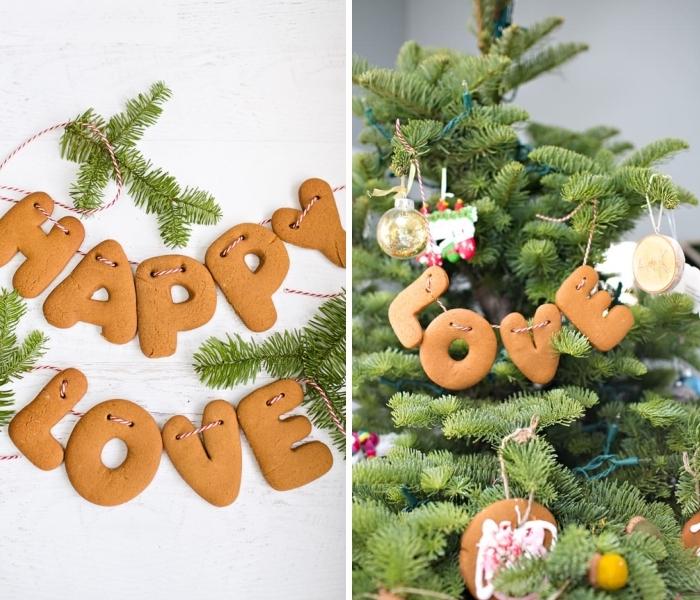 bastelideen weihnachten einfach, buchstaben kekse mit ingwer, tannenbaum schmücken