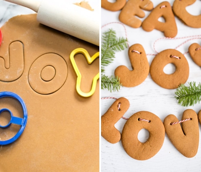 bastelideen weihnachten einfach, ingwerkekse buchstaben backen, girlande aus keksen
