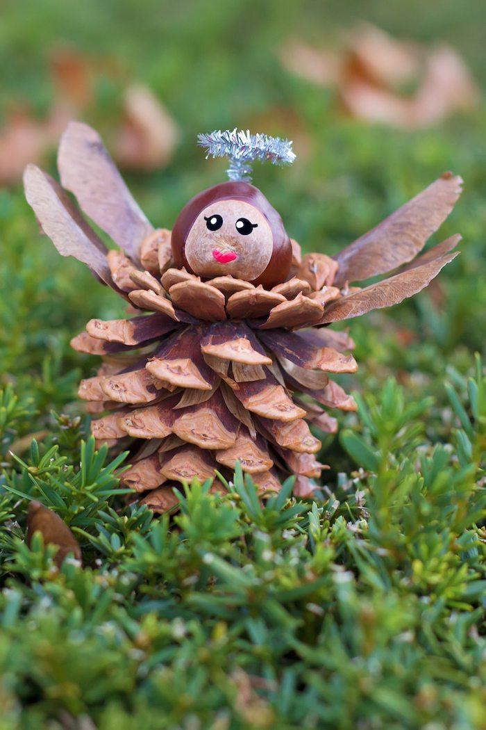 Basteln mit Zapfen zu Weihnachten, Engel aus Zapfen und Kastanie selber machen, DIY Ideen für Kinder