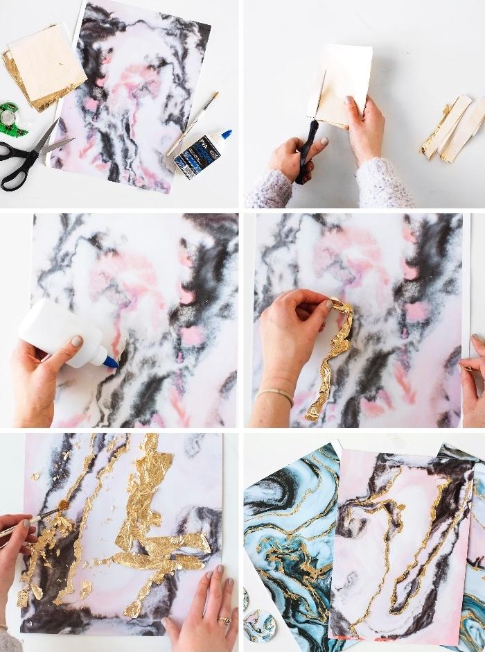 bastelideen weihnachten, papier mit marmor muster mit blattgold dekorieren, anleitung