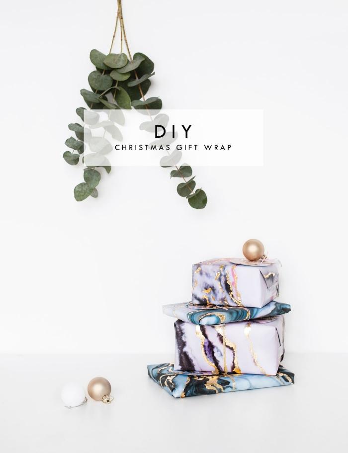 bastelideen weihnachten, geschenke originell verpacken, geschenkverpackungen mit marmor motiv