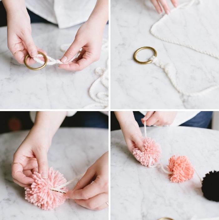 bastelideen weihnachten, goldener ring, weiße garn, girlande aus pompons machen