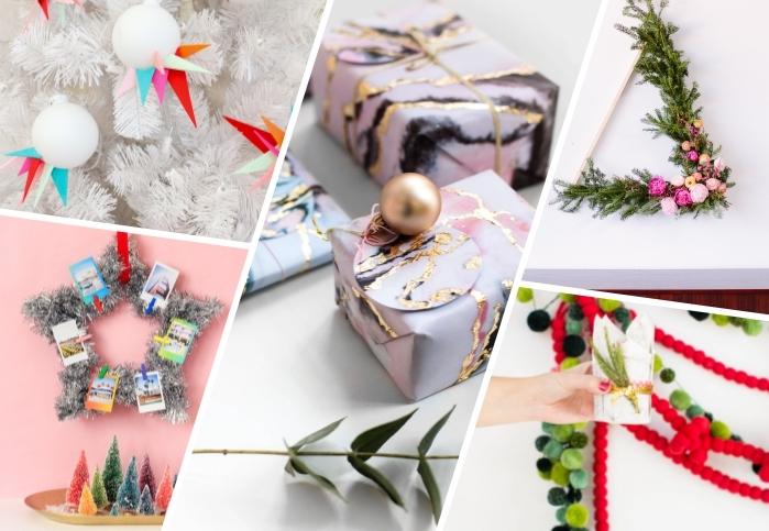 bastelideen zu weihnachten, geschenkverpackungen mit marmor muster, asymmetrische eihnachtskugel, moderne weihanchtsdeko