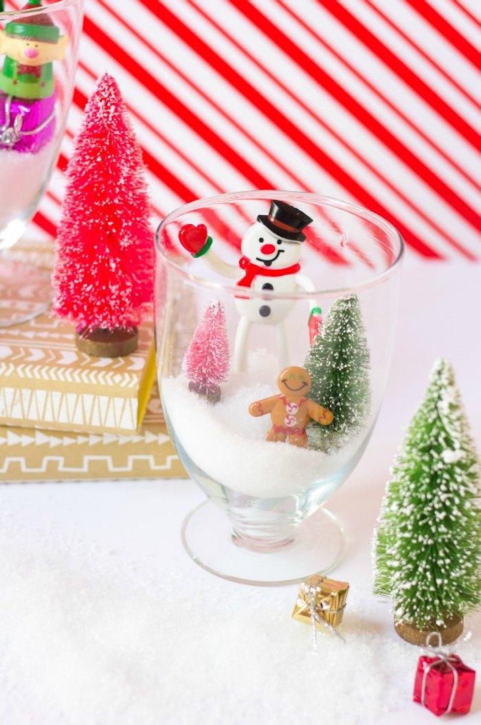 Künstlicher Schnee in Glas füllen, Schneemann und zwei kleine Weihnachtsbäume darin stellen , Weihnachtsdeko Idee