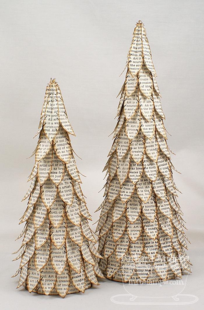 Zwei Weihnachtsbäume aus Papier, DIY Ideen für ausgefallene Weihnachtsdekoration