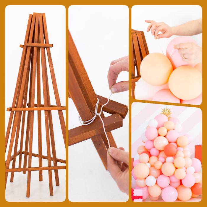 Alternativen Weihnachtsbaum selber machen, Luftballons am Holzständer befestigen