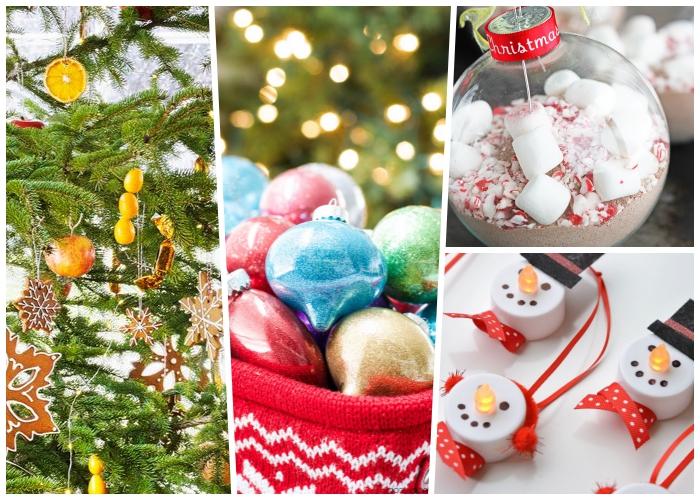 basteln weihnachten, tannenbaum dekoriert mit zitronen und keksen, weihnachtskugel gefüllt mit bonbons uns marshmallows