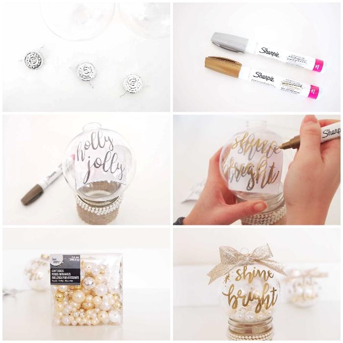 transparente kugel, goldener und silberner marker, basteln weihnachten, perlen