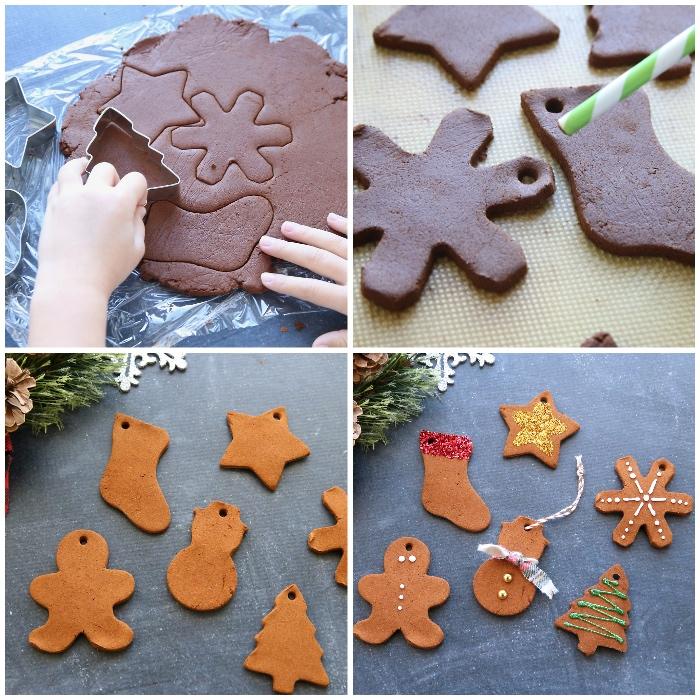 teig mit kakao und ingwer, formen ausschneiden, basteln weihnachten kinder, weihnachtsbaumschmuck