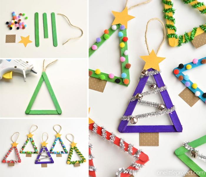 basteln weihnachten kinder, bunte mini bommeln, christbaum aus holzstäbchens, silberne girlande