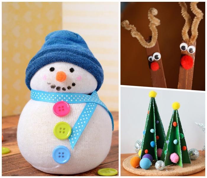 basteln weihnachten kinder, blaue mütze, schneemann aus weißer socke, 3d tannenbäume